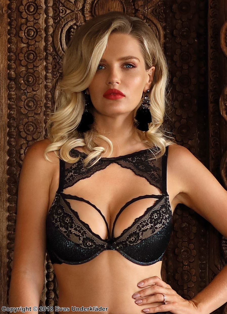 Exclusive push-up bra, soft lace, glitter, straps over bust, A to D-cup